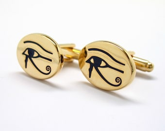 Egyptian Eye Cufflinks Gold Tone Symbol of Protection Royal Power Good Health Cuff Links Bring Luck to those that wear them