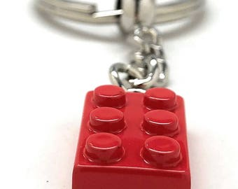 Block Key Chain Red Brick Enamel Block King Key Ring with Chain