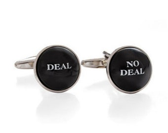 Deal No Deal Cuff links Deal Maker Black Round Domed Men's Cufflinks Cool Guy Gifts Custom Cufflinks