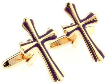 Gold Cross Cufflinks with Purple Enamel Accent Cross Cufflinks Cuff Links Religious Cufflinks