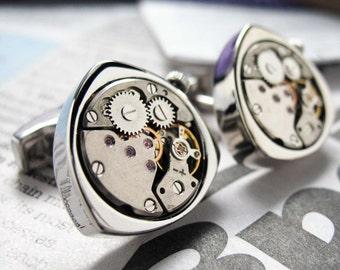 Vintage Steampunk Watch Cufflinks Triangular Cufflinks Gunmetal or Silver Toned Functional Movement Cuff Links