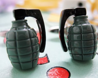 Hand Grenade Cufflinks 3D Army Green Jewelry Cuff Links