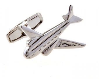 WWII Transport Airplane Cufflinks Silver Tone Prop Air Transport Flying Pilot Aircraft Airliner plane Cuff Links Comes with Box