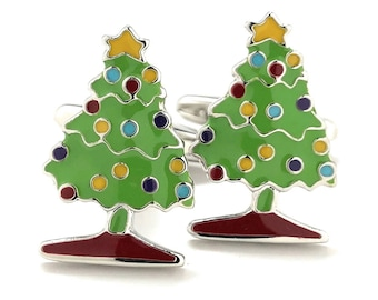O Christmas Tree O Christmas Tree Holiday Cufflinks Green Creatively Decorated Fun Cool Work Party Unique Cuff Links Comes with Gift Box