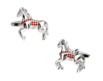 Wild Red Fire Crystal Horse Cufflinks Lucky Stallion Cuff Links Animal Comes with Gift Box