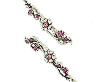 Fucshia Rose Color Flower Hair Bobby Pins, Hair Jewelry