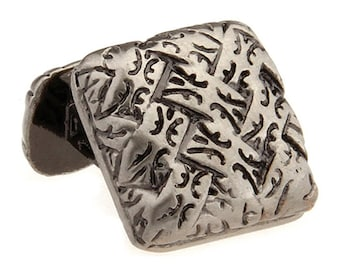 Designer Sculpted Antique Silver Woven Weave Celtic Cufflinks Straight Post Detailed Heavy Style Cuff Links