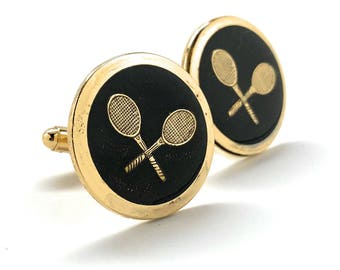 Professional Tennis Racket Cufflinks Round Gold Tone with Black Enamel Ace Serve Classic Retro Vibe Very Cool Cuff Links