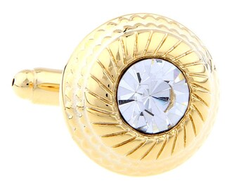 Gold Cufflinks Sun Burst Cut Crystal Round Presidential Power Cuff Links Comes with Gift Box gifts for father boss gift ideas