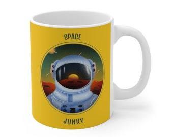 Space Coffee Mug 11oz Ceramic Yellow Space Junky Cup Spaceman Planets Travel Space Man