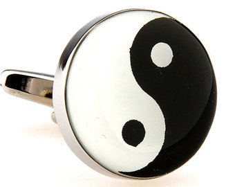 Eastern Thought Religion and Zen Yin Yang Black and White Heavy Thick Cufflinks Cuff Links