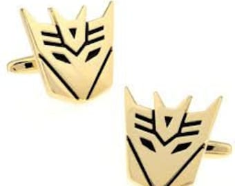 Decepticons Cufflinks Super Hero Transformers Cuff Links Gold Black Show Off Your Hero Keepsakes Cool Fun Collector Comes Gift Box