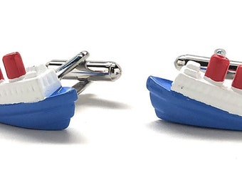 Cruise Ship Cufflinks, Red white and blue