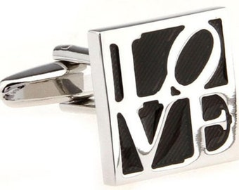 All You Need is Love Cufflinks, Silver Black Square LOVE