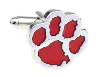 Red Silver Animal Bear Paw Print Novelty Animal Cufflinks Cuff Links