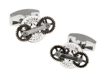 Working Gears Cufflinks Vintage Steampunk Circular Gears Movement Functional Cuff Links Comes with Gift Box