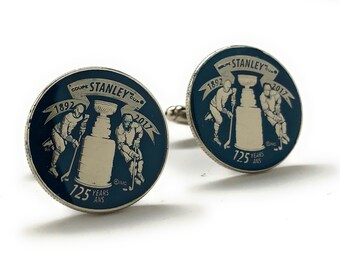 Enamel Cufflinks Stanley Cup Blue Edition NHL Ice Hockey Cuff Links Stanley Cup Trophy Authentic Canadian Quarter Enamel Coin Jewelry