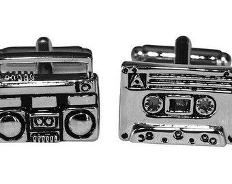 Boom Box Cufflinks Throw Back Retro Cassette Tape Boom Box Radio Silver Toned Bullet Post Cufflinks Cuff Links