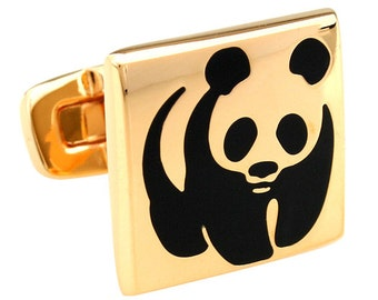 Gold Panda Cufflinks Gold Walking Panda Bear Cufflinks Whale Tail Backing Cufflinks Cuff Links Animal Jewelry Bear Stuff Wedding Cufflink