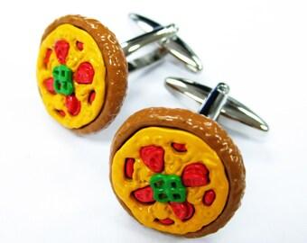 Enamel Pizza Pie Cufflinks Mama Mia Pizza Food Cuff Links unique jewelry fun jewelry novelty cuffs custom cufflinks White Elephant Gifts