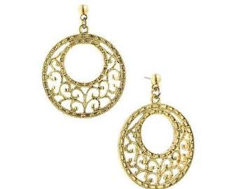 Vintage Estate Gold Tone Filigree Round Drop Earrings Silk Road Jewelry