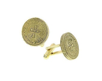 Gold Cross Round Cuff Links Intricate Etched Religious Collection Faith Cufflinks
