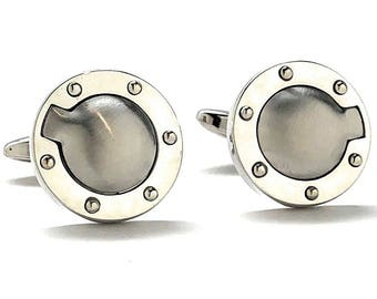 Silver Gas Fuel Cap Cufflinks Brushed Silver Cufflinks Super Detailed Design Race Car Driver Pit Crew Automobile Racing Cars Fuel Gas Gifts