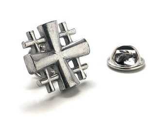 Jerusalem Cross Lapel Pin Cut Out Design Silver Tone 3D Christian Faith Religious Gospel Greek Crosses Cool Tie Pin Tie Tack