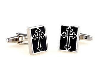 Silver and Black Cross Bottony Cufflinks Religious Cross Cufflinks Cuff Links