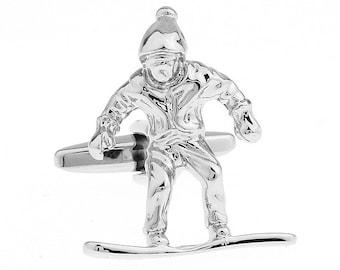 Silver Tone Snowboard Snowboarder Winter Sports Cufflinks White Elephant Gifts