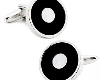 Mother of Pearl and Black Onyx Bulls Eye Cufflinks Formal Special  Cuff Links