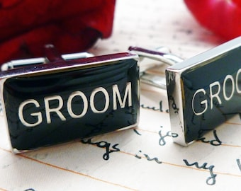 Groom Cufflinks Wedding Jewelry for Men Gift for Groom Black Enamel with Silver Tone Cuff Links  Great for Weddings Big Day with Gift Box