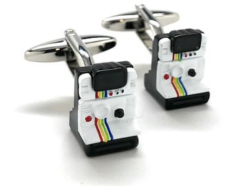 Instant Camera Cufflinks Old School Film Enthusiast Film Jewelry Buff Hobby Photographer Cool Fun Unique Cuff Links Comes with Gift Box