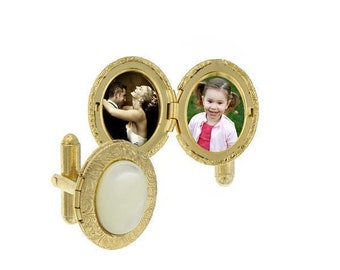 Gold Tone Mother of Pearl Stone Oval Locket Cufflinks Cuff Links