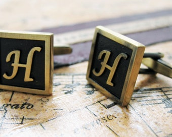 H Initial Cufflinks Antique Brass Square 3-D Letter Vintage English Lettering Cuff Links Groom Father Bride Anniversary Fathers Day Gift Box