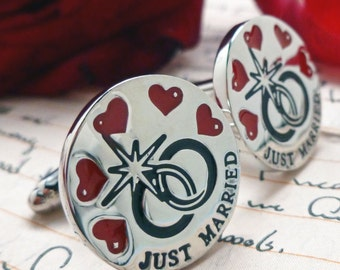 Just Married Cufflinks Rings and Hearts Just Married Silver with Red Black Enamel Cuff Links Great for Weddings Anniversary with Gift Box