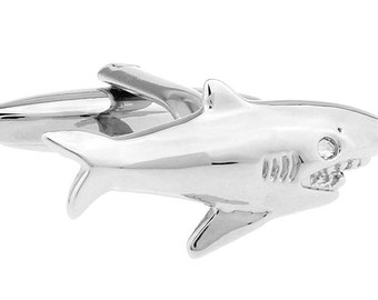 3D Killer Shark Cufflinks Silver Tone King of the Ocean Cuff Links The Perfect Gift Comes with Box Business Leader