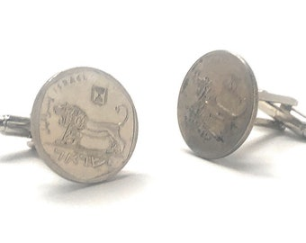 Cufflinks Circulated Israel Lion Cuff Links Coin Jewelry Money Finance Accountant Enamelled Coin Cufflinks Cool Guy Gifts