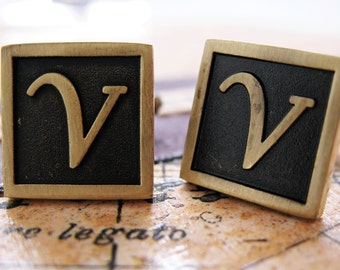 V Initial Cufflinks Antique Brass Square 3-D Letter Vintage English Lettering Cuff Links Groom Father of Bride Wedding Father's Day Gift Box