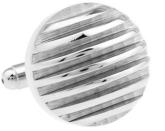 Unique Silver Round Solid Cut Thick Repp Stripes Cufflinks Cuff Links