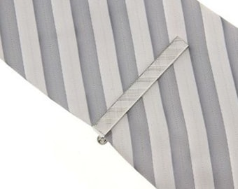 Silver Tartan Plaid Classic Mens Tie Clip Tie Bar Silver Tone Very Cool Comes with Gift Box