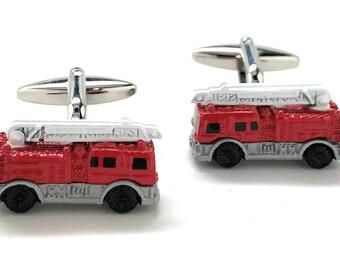 Fire Truck Cufflinks, Fire Department Engine
