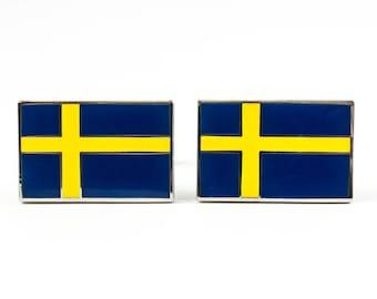 Sweden Flag Cufflinks Swedish Flag Cufflinks Cuff Links