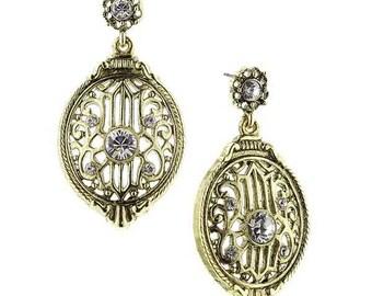 Vintage Estate Antique Brass w White Crystal Drop Earrings Downton Abbey Jewelry