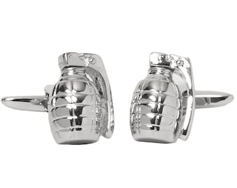Hand Grenade Cufflinks 3D Army Silver Jewelry Fun Cool Unique Clever Cuff Links Comes with Gift Box