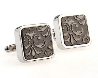 Silver Heavy Thick Brushed Gunmetal Square Fleur di Lis Cufflinks Cuffs Links