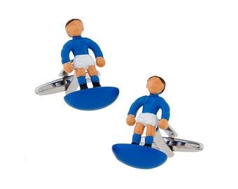 White Blue Enamel Unique Foosball Cufflinks Table Football Game Cufflinks Cuff Links