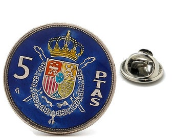 Birth Year Enamel Pin Spain Coin Lapel Pin Tie Tack Collector Pin Blue Spanish Enamel Coin Travel Souvenir Art Hand Painted Authentic Coins