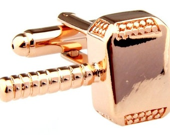 Norse Mythology Rose Gold Thor's Hammer Thunder and Lightning Cufflinks Cuff Links