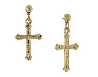 Earrings Etched Cross Intricate Vintage Inspired Gold or Silver Religious Faith Collection Jewelry
